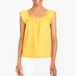 J Crew Pom Pom Sleeve Top Marigold Yellow